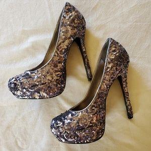 Bakers Shoes - Bakers Silver Sequin Heels